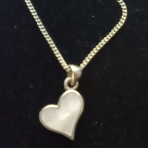 Sterling Silver 925 Dainty Abalone Heart Necklace.